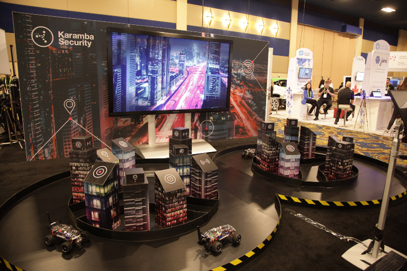 The Karamba Security booth at Consumer Electronics Show CES 2019, showing a hack of autonomous cars and how to secure the autonomous cars